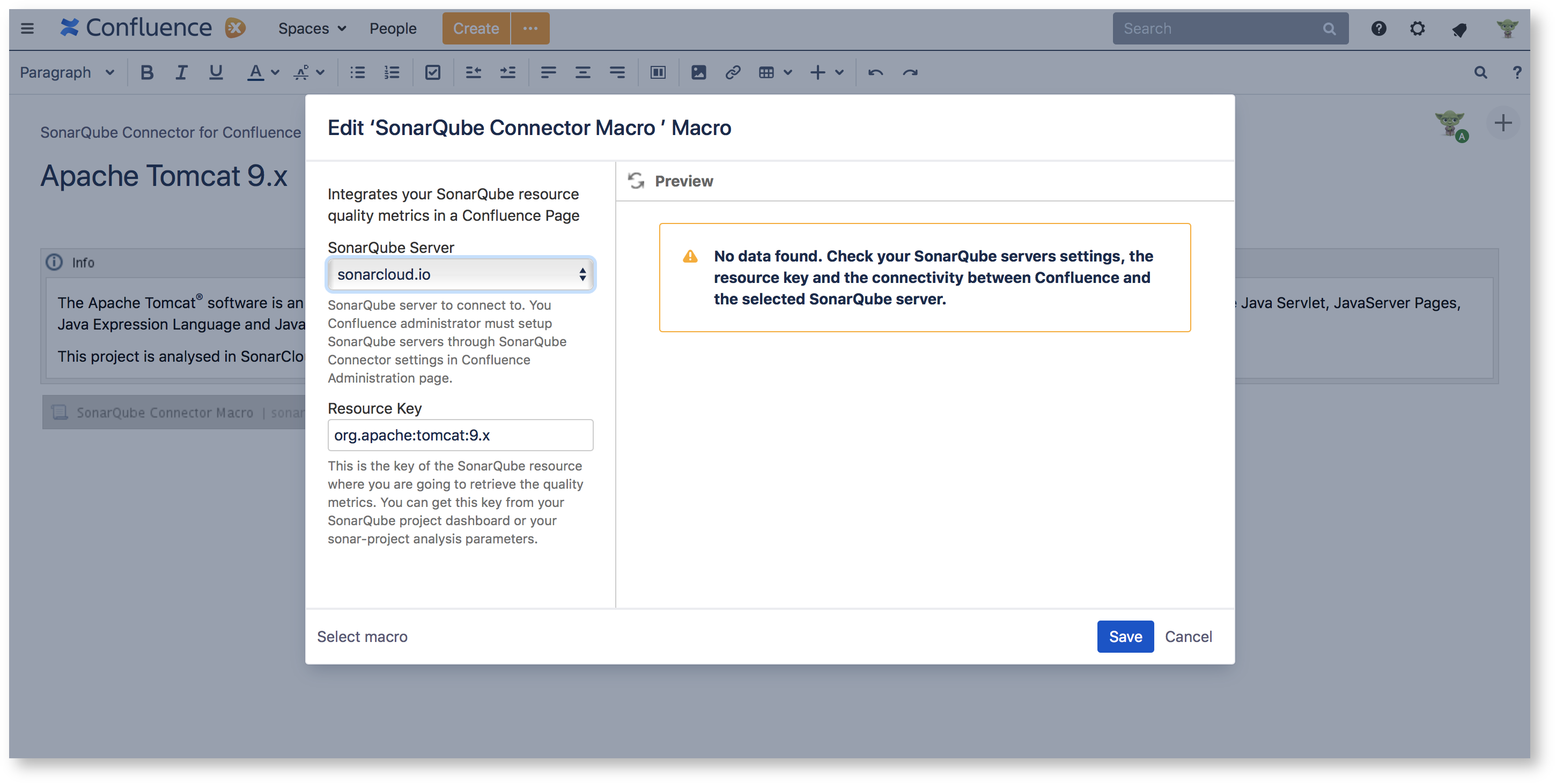 Macro Usage - SonarQube Connector for Confluence - Confluence